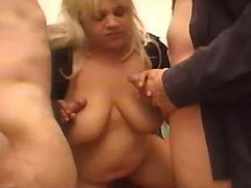 Fat blonde takes part in threesome