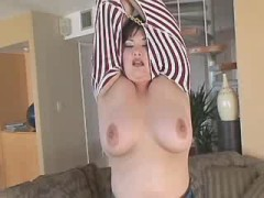 Busty mature BBW fucking hard with dude on sofa