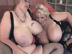 Two chubby lesbians play sex games on the sofa