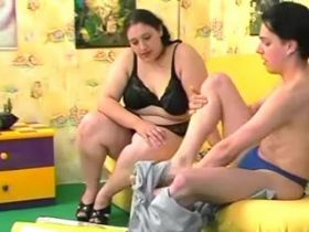 Sweet young fatty make oral on sofa