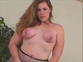 Depraved plump angel play with dildo on sofa