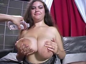 Depraved fat girl with big boobs titfucks dude