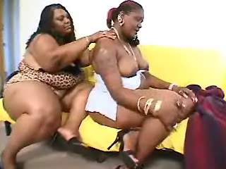 Sex adventure of two tremendous fat ebony lesbians