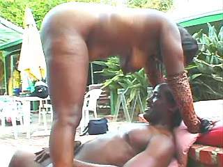 Large ebony woman does blowjob and fucks outdoor