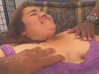 Enormous Chubby mom blowing two hard dicks