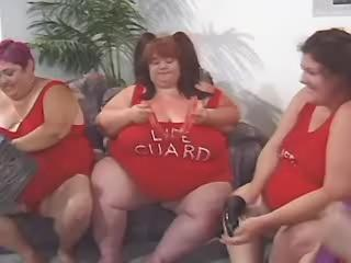 Greasy monster fat woman in wild lesbian orgy