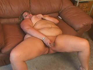 Nourished  greasy woman plays with big hard dick