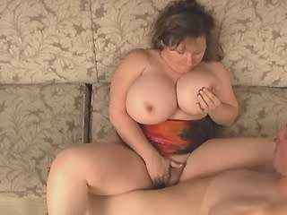Dudes screw and jizz on flabby wife with big boobs