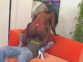Chubby ebony housewife gets cum after fucking