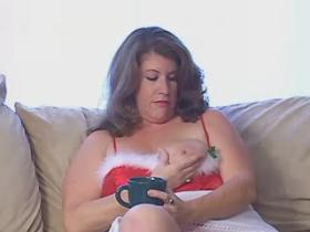 Breasty plump honey blows hard dick on sofa