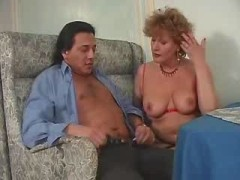 Mature breasty woman does blowjob and fucks with dude